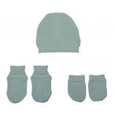 Set chausson moufle bonnet tricoté Aqua
