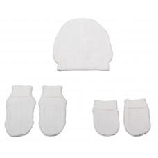 Set chausson moufle bonnet tricoté Blanc