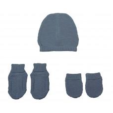 Set chausson moufle bonnet tricoté Marine