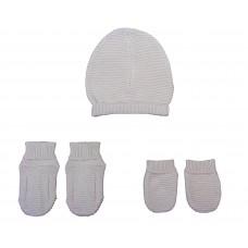 Set chausson moufle bonnet tricoté Gris