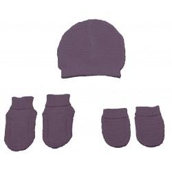 Set chausson moufle bonnet tricoté Rose