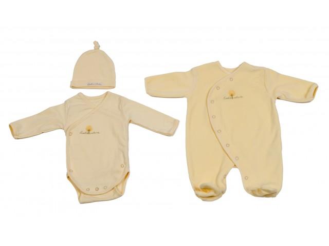 Pyjama velours+Body+Bonnet 3M